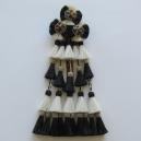 Mosquero Vaquero 25 Borlas de Cerda Natural. Color Blanco y Negro