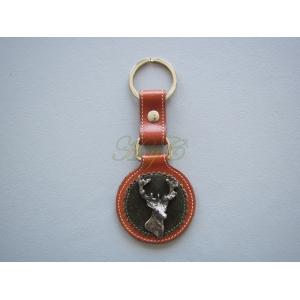 Llavero piel caceria cabeza ciervo cuerna marrón