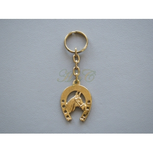 Llavero herradura dorada con cabeza caballo