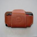 Funda telefono mediana piel color avellana mod. Unisport forrado interior con velcro para cinturon