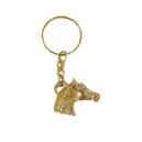 Llavero cabeza caballo con cadena fabricada de bronce