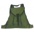 Zurron niño lona verde con refuerzos, 1 bolsillo, interior impermeable