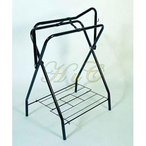 Porta sillas tripodi plegable de tubo color negro con soporte para accesorios