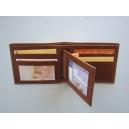 Cartera caballero piel vaqueta flor Forrado Interior para tarjetas DNI y billetero. Color Marrón
