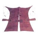 Zahón monteria fabricado piel ternera flor picado fondo blanco medidas 82 cm de largo