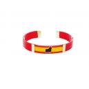 Pulsera bandera con toro 5 cuerdas caucho color rojo