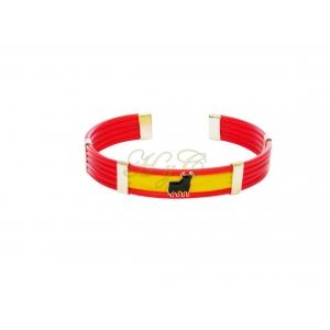 Pulsera bandera caucho toro 5 cuerdas piano rojo