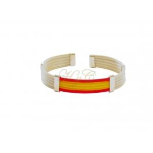Pulsera bandera caucho 5 cuerdas piano color blanco