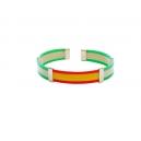 Pulsera bandera caucho color verde y blanco  con grapas y terminales de plata