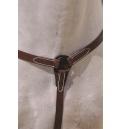 Pechopetral cruz vaquero regulable gala piel cuero sillero. Color marrón y Color negro