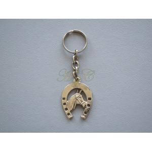 Llavero herradura brillo cabeza caballo