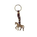 Llavero caballo pequeño bronce y correilla piel con hebilla