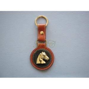 Llavero piel cabeza caballo dorada color avellana