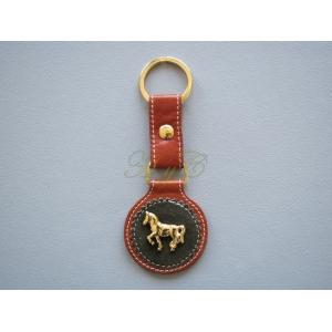 Llavero piel caballo dorado color avellana