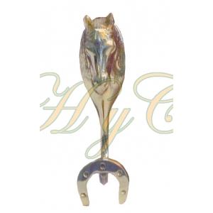 Percha madera 1 cabeza caballo 1 herradura bronce